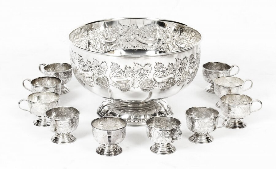 Vintage Viners of Sheffield Punch Bowl Set with 12  cups mid 20th Century | Ref. no. A1442 | Regent Antiques