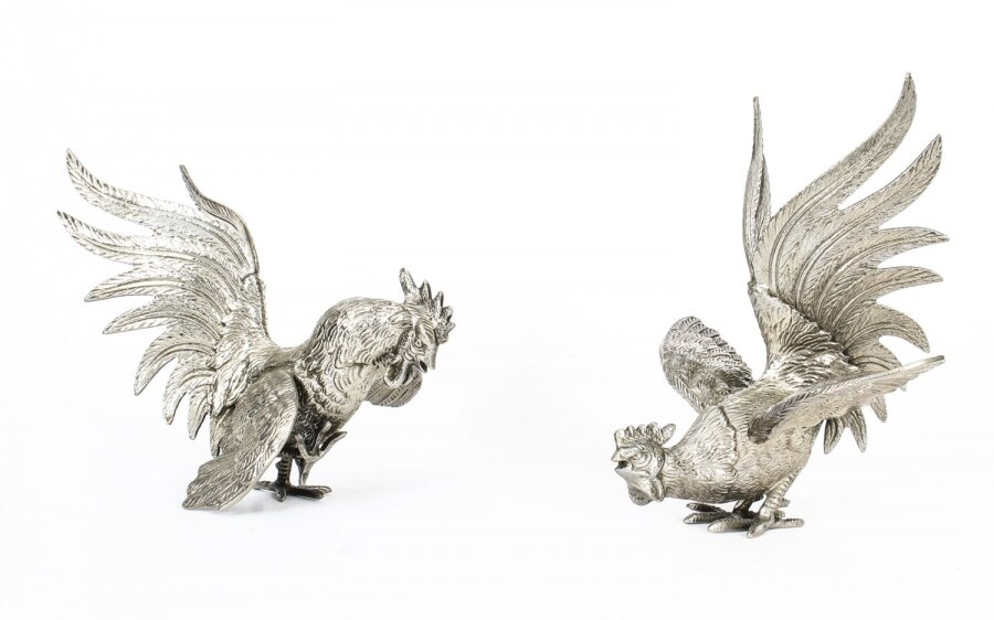 Antique Pair French Silver plated fighting cockerels C 1880 19th C | Ref. no. A1472 | Regent Antiques