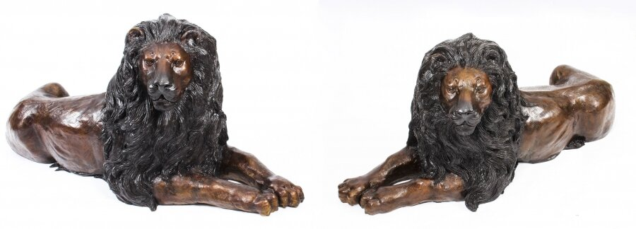 Vintage Pair of Huge Bronze Lions  20th Century | Ref. no. A1491 | Regent Antiques