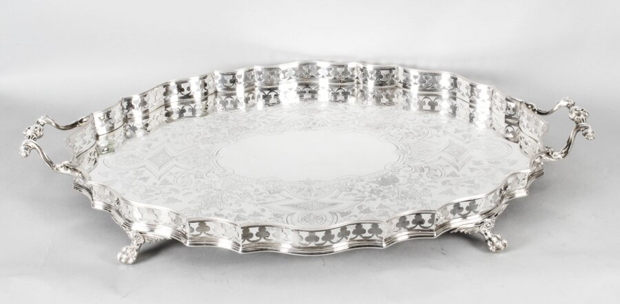 Antique Victorian Oval Silver Plated Gallery Tray C1870 19th Century | Ref. no. A1506 | Regent Antiques