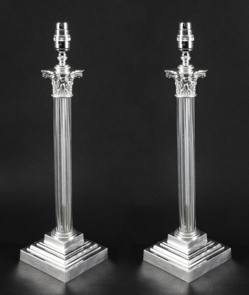 Antique Pair Edwardian Silver Plated & Glass Corinthian Table Lamps C 1910 | Ref. no. A1519 | Regent Antiques