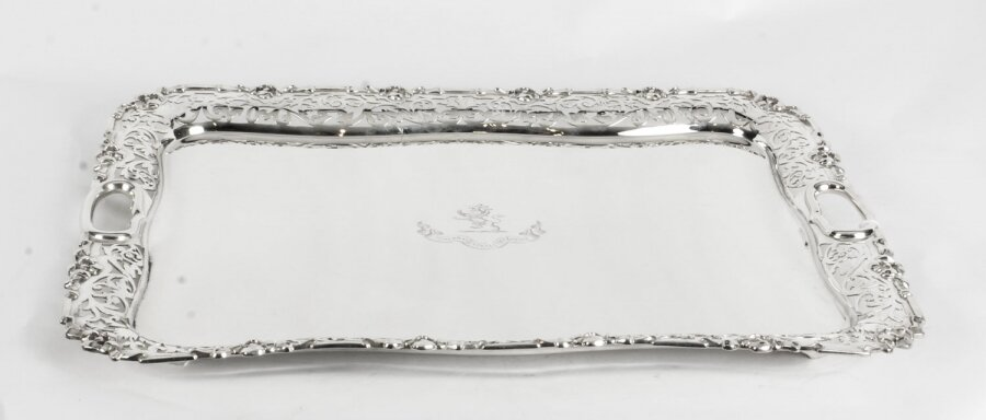 Antique Large English Silver Plated Twin Handled Tray C1860 19th Century | Ref. no. A1526 | Regent Antiques