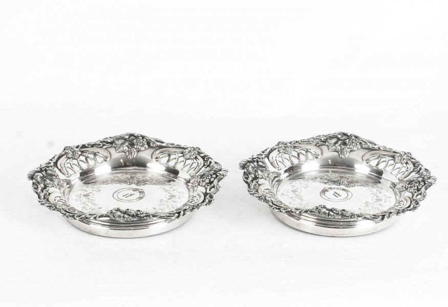 Antique Pair Old Sheffield Silver Plated Wine Coasters C1820 19th Century | Ref. no. A1533 | Regent Antiques