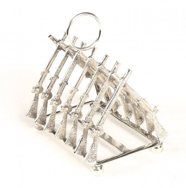 Vintage Beautiful Silver Plated Toast Rack Crossed Rifles 20th Century | Ref. no. A1541 | Regent Antiques