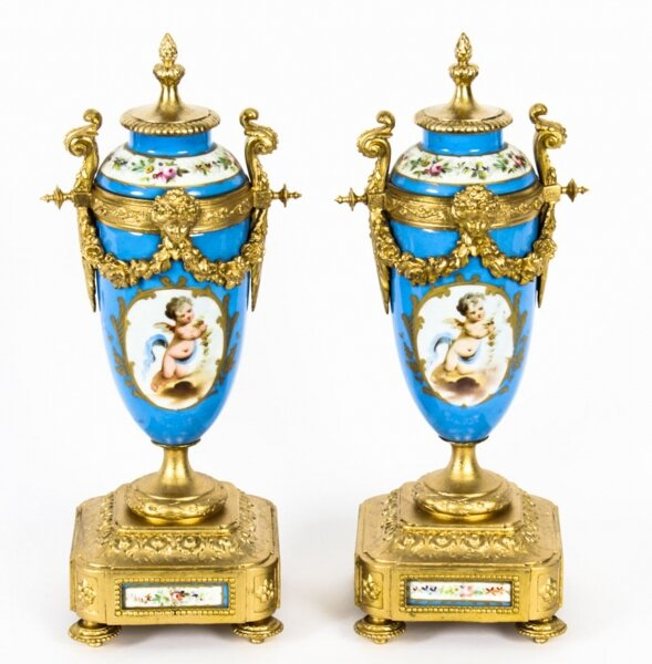 Antique Pair French Bleu Celeste  Sevres Urns P H Mourey 19th C | Ref. no. A1585 | Regent Antiques
