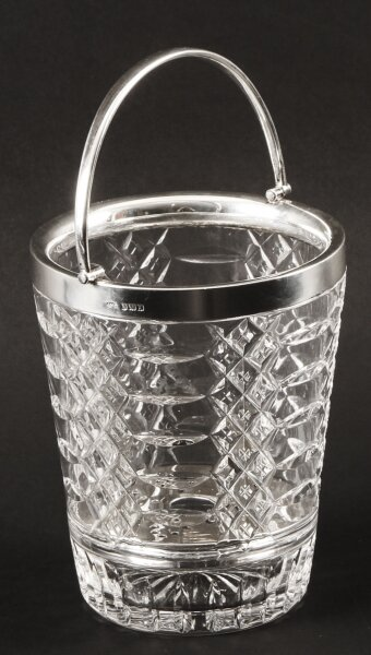 Vintage Sterling Silver  & Crystal Ice Pail Bucket  Mid 20th Century | Ref. no. A1588 | Regent Antiques