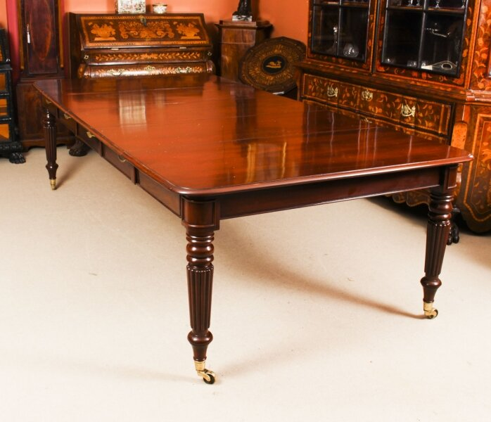 "Antique 8ft 6"" Regency Flame Mahogany Extending Dining Table C1820 19th C 