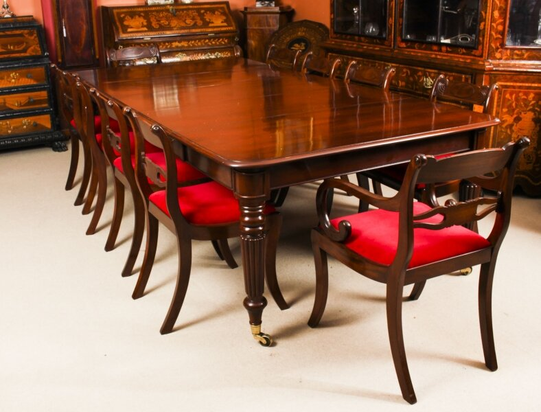 Antique Regency Flame Mahogany Dining Table & 10 Regency chairs 19th C | Ref. no. A1621a | Regent Antiques