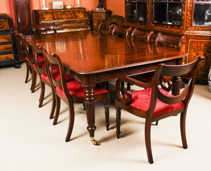 Antique Regency Flame Mahogany Dining Table C1820  & 10 chairs | Ref. no. A1621b | Regent Antiques