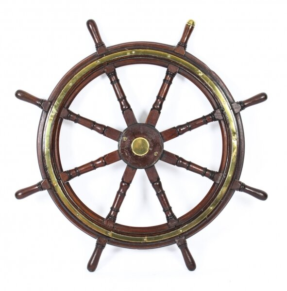 Antique 4ft Diam Teak and Brass Set 8-Spoke Ships Wheel C 1880 19th Century | Ref. no. A1650 | Regent Antiques