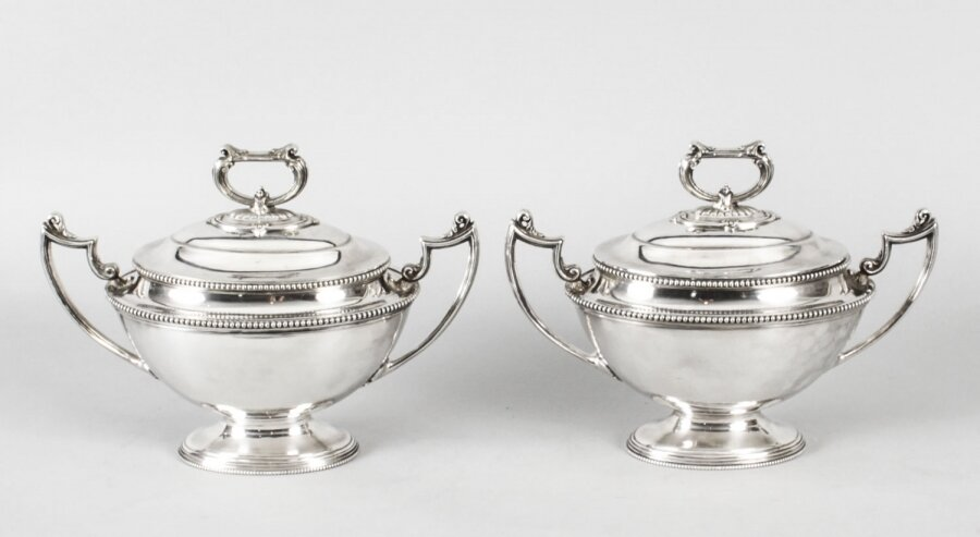 Antique Pair Sauce Tureens Entree Dishes  Henry Atkins C1860  19th Century | Ref. no. A1652 | Regent Antiques