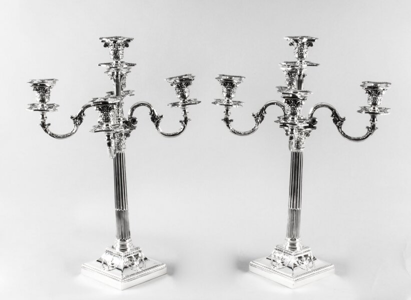Antique Pair Victorian Silver Plated Five-Light Candelabra by Elkington 19th C | Ref. no. A1656 | Regent Antiques