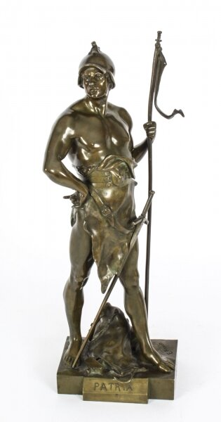 "Antique Bronze Mythological Warrior ""Honor Patria"" Emile  Picault 19th C 