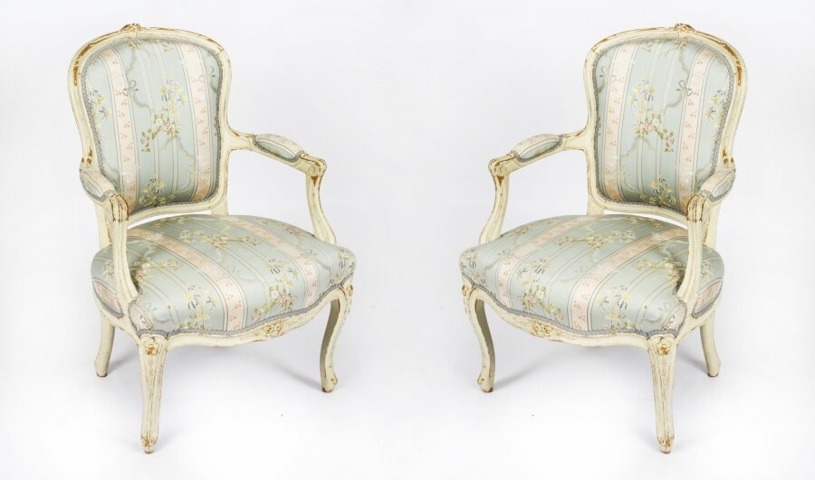 Antique Pair  Shabby Chic Louis Revival French Painted Armchairs 19th  Century | Ref. no. A1779 | Regent Antiques