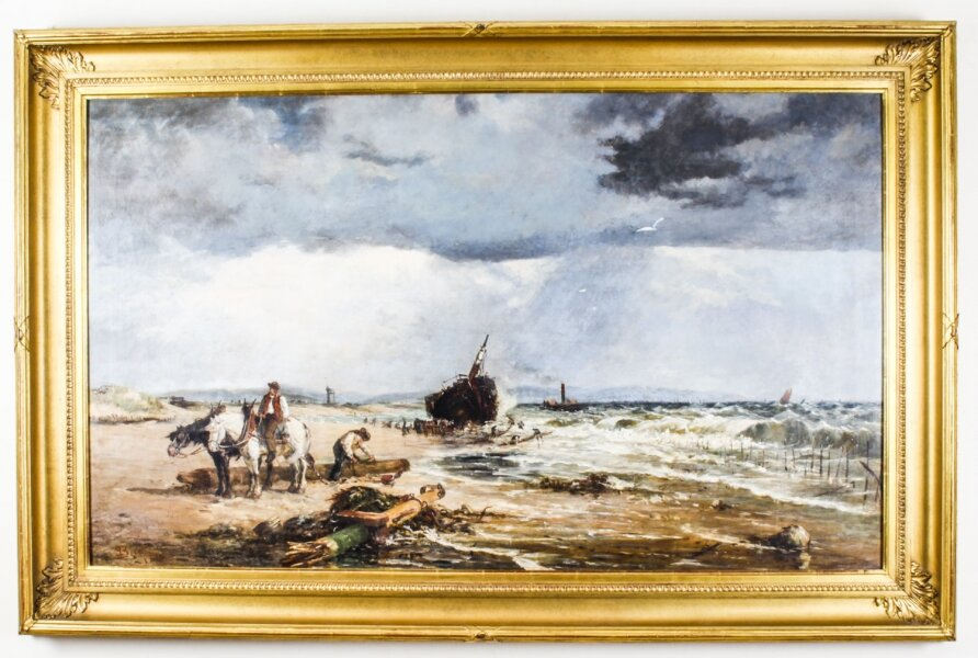 "Antique Oil on Canvas Painting ""Salvaging the Wreck"" by Samuel Bird 19th Century 