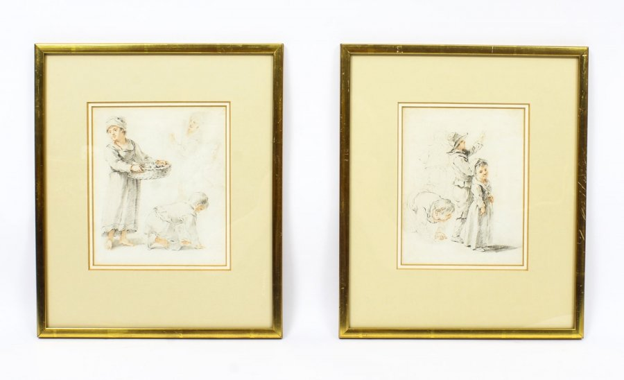 Antique  Pair of Sketches by Thomas Barker of Bath  18th Century | Ref. no. R0008 | Regent Antiques