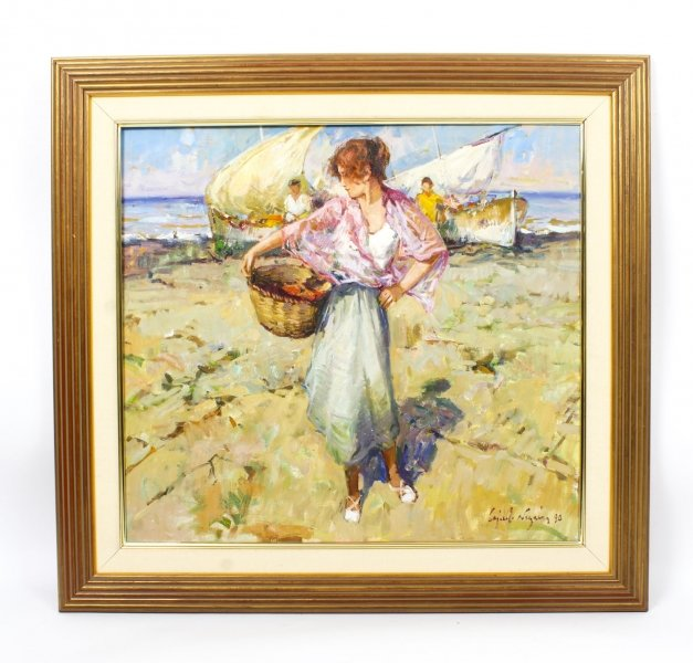 Vintage Spanish Oil on Canvas Titled Lady with Basket Dated 1990 | Ref. no. R0015 | Regent Antiques