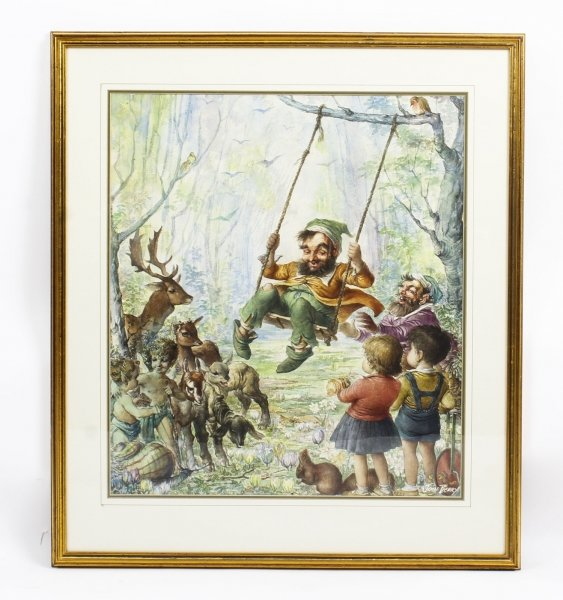 Vintage Large Watercolour by John Berry of Rumpelstiltskin Circa 1960 | Ref. no. R0017 | Regent Antiques