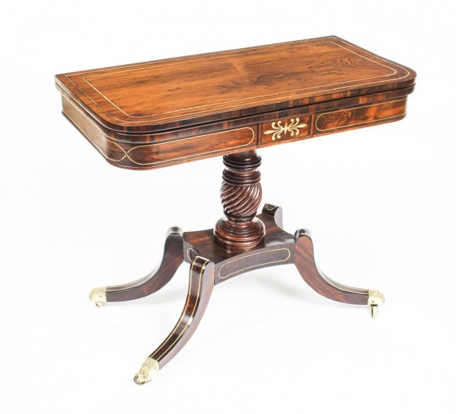 Antique Regency Rosewood Brass Inlaid Card Table c.1820 19th C | Ref. no. R0052 | Regent Antiques
