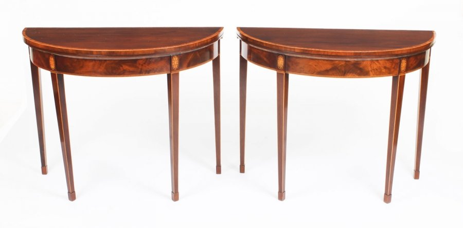 Antique Pair George IV Flame Mahogany  Console / Card Tables 19th Century | Ref. no. R0053 | Regent Antiques