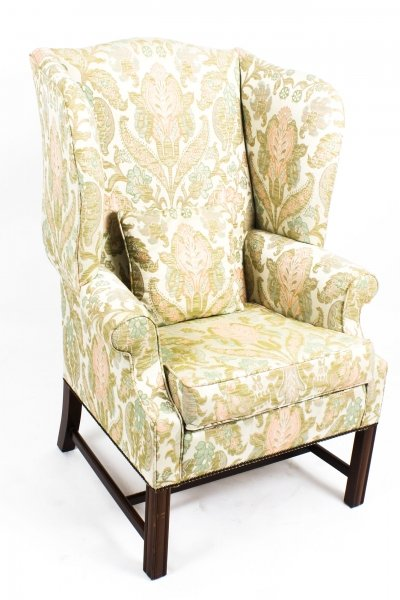 Vintage Chippendale Wing Back Chair Armchair 20th Century