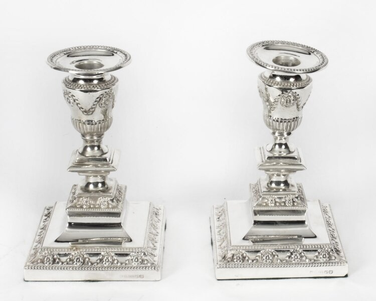 Antique Pair Neo-classical Silver Plated Candlesticks  by Barker Bros Ltd 19th C | Ref. no. X0007 | Regent Antiques