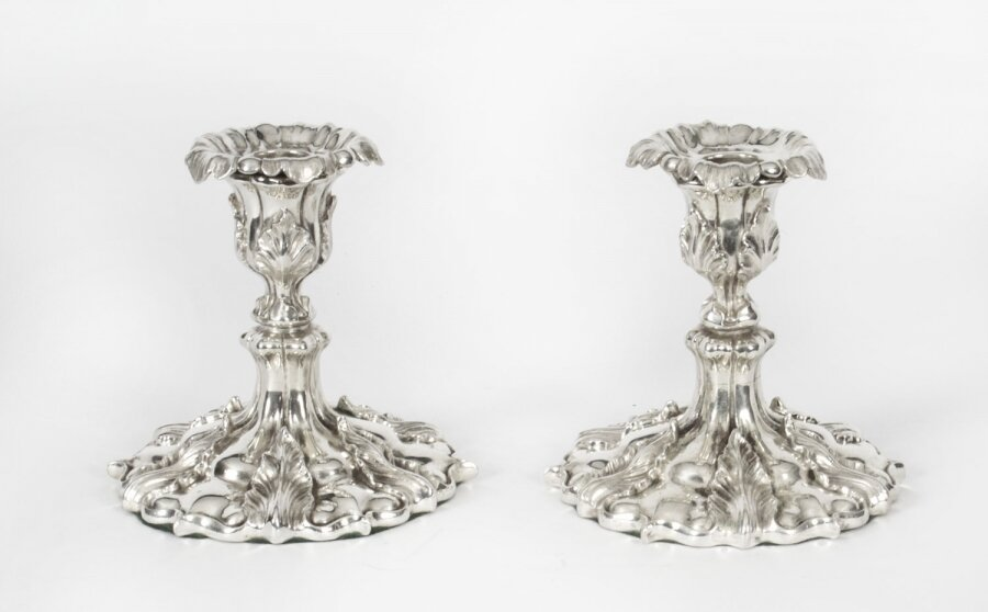 Antique Pair Victorian Rococo Revival Silver Plated  Candlesticks, 19th C | Ref. no. X0008 | Regent Antiques