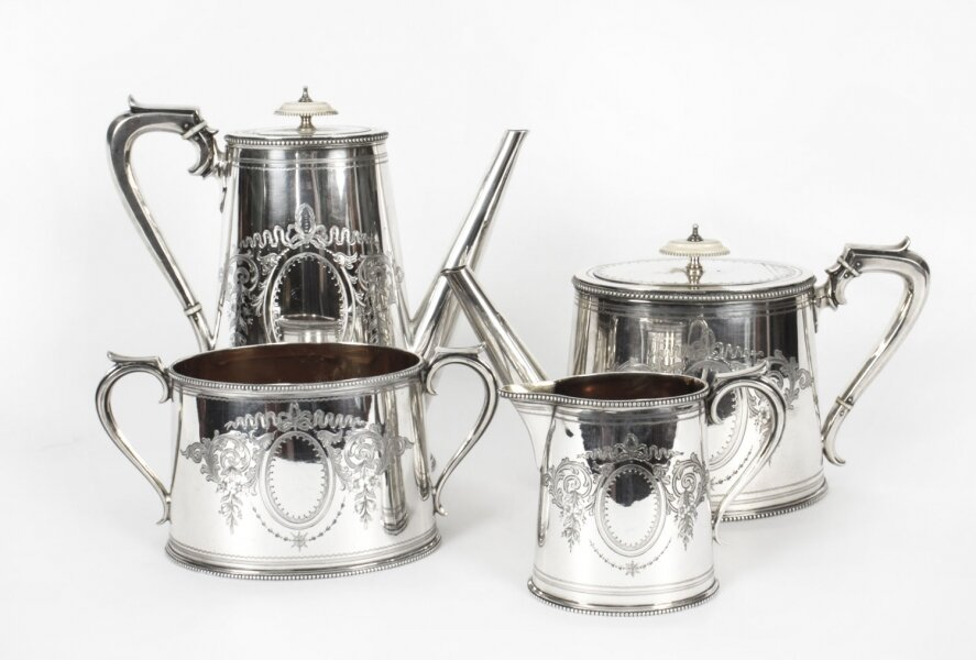 Antique Victorian Silver Plated Four Piece Tea & Coffee Set Elkington 19th C | Ref. no. X0021 | Regent Antiques