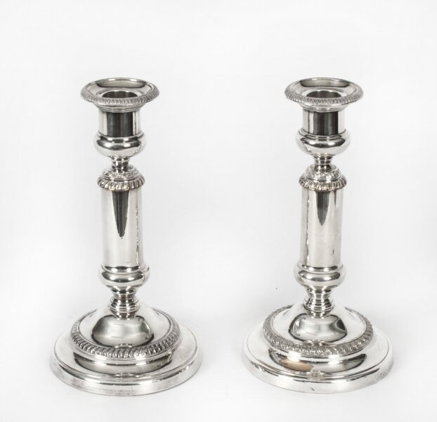 Antique Pair Victorian Silver Plated Telescopic Candlesticks 19th C | Ref. no. X0028 | Regent Antiques