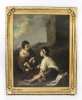 Antique Painting Boys Playing Dice After Bartolome& 39 Murillo C1780