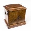 Antique Victorian Burr Walnut Cigar Humidor Box C1870