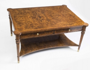Elegant Burr Walnut Coffee Table With Four Drawers