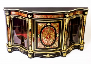 Antique Serpentine Boulle Cabinet Credenza