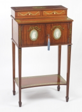 Antique George III Satinwood Cabinet Cheveret Wedgewood Plaques 19th C