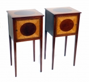 Antique Pair Victorian Marquetry Bedside Cabinets