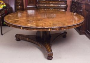 Antique 6ft diameter William IV Revival Black Walnut Dining Table