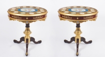 Pair of French Ormolu & Sevres Porcelain Occasional Tables