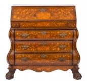 Antique Dutch Burr Walnut Floral Marquetry Bureau