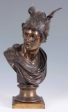 Antique French Grand Tour Bronze Bust Mercury Early 19th Century