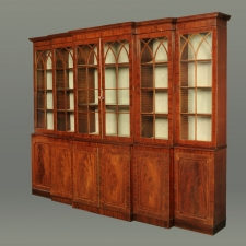 Antique Regency Flame Mahogany Four Door Breakfront Bookcase 19th C