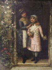 Antique Oil Painting Jane Maria Bowkett & 34 Ready for School& 34 1837 1891