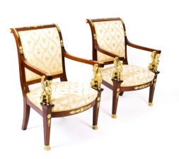 Pair of French Egyptian Revival Mahogany & Ormolu Armchairs Mid of 20th Century