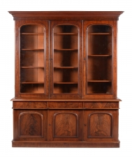 Antique Victorian Flame Mahogany Breakfront Bookcase
