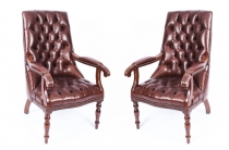 Bespoke Pair English Handmade Carlton Leather Desk Chairs Hazel