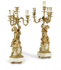 Antique Pair French Ormolu & Patinated Bronze Table Lamps C1850