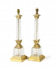 Antique Pair Edwardian Ormolu & Glass Corinthian Table Lamps C 1910