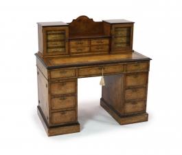 Antique Burr Walnut Pedestal Desk by Edwards & Roberts